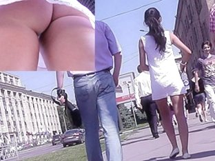 Small, perfectly shaped ass in the real upskirt video