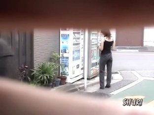 Vending machine sharking surprise with vocal sweet gal being totally stunned