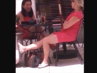 2 Milfs blond & Asian with pretty feet great legs.