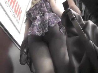 Sexy legs blonde woman upskirt