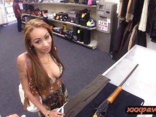 Crazy bitch pawns her vagina and fucked at the pawnshop