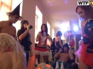 Hardcore college sex orgy for the halloween casting Ally, Amelia and others