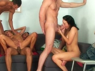 Betsy & Kiki & Sweety & Tess in group sex scene with a lot of nude students