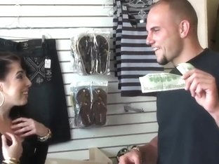 Jmac helps Allison Banks to shop with his bell-rope