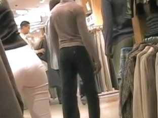 Amaziong hot blonde with tight white pants