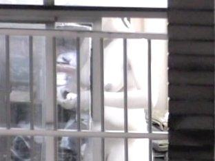 Voyeur window scenes of absolutely naked amateur wife