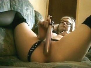 Borrowing big girl's vibrator to satisfy her nerdy girl pussy