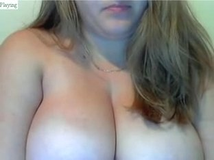 Blonde wife shows her huge knockers