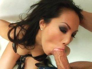 Asa Akira rams this hard dick down her slippery throat