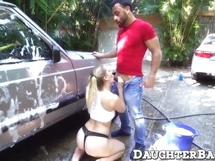 She was eager to suck a juicy cock after washing the car
