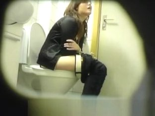 Cute chick on hidden toilet cam