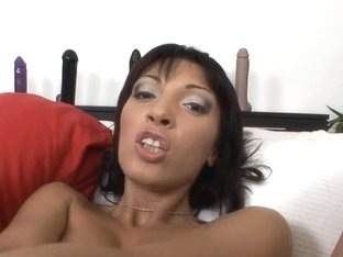 Brunette Hair fucking a massive blue sex-toy