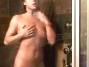 Hot babe with small tits filmed in the shower
