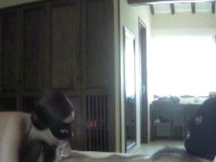 Nice masked blowjob at home