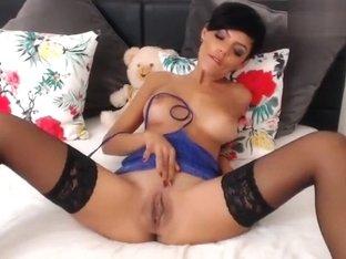 Sweet brunette AlexyBelle fondles her vagina