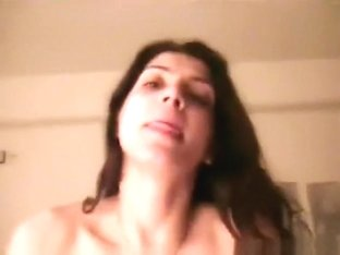 Hot greek girl sucks, rides and swallows pov.