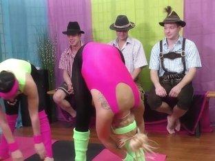 aerobic girls in lederhosen gangbang