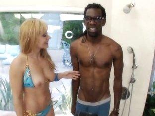 She chokes on a big fucking dick and drinks cum like a horny slut!