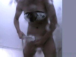 Chick showering and changing bikini
