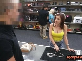 Hot babe fucked to get back her big silver chain she pawned