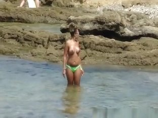 Topless girls with big and small boobs