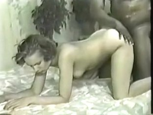 Vintage sexy blonde gets black sperm in her pussy
