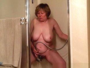Big tits granny shower jet orgasm