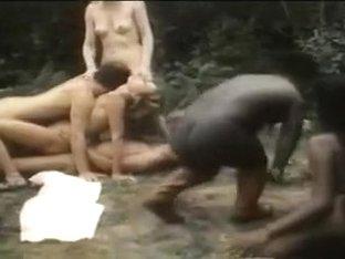 Interracial orgy with black midget