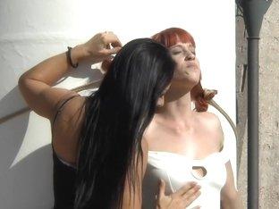 Redheaded slut beautifully disgraced on streets of Madrid