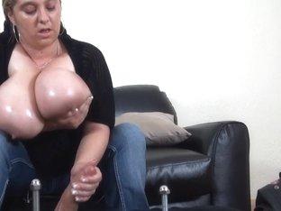 minimal tugjob tease with large natural meatballs