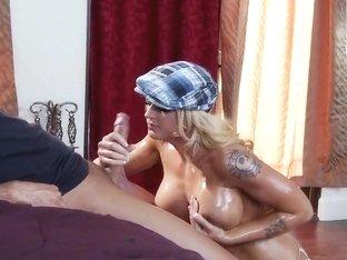 Keiran Lee oils sweet boobs of Leya Falcon
