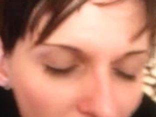 Milf brunette blowjob and facial video