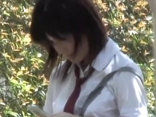 Confused Japanese schoolgirl in the middle of fierce sharking encounter