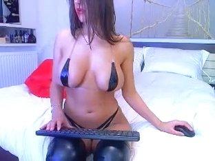 Hot Big Tits Brunette HotDiva19 sucking dildo