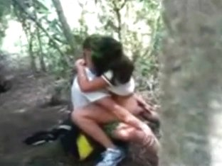 Guy sneakily tapes his friend getting some cowgirl action in the forest