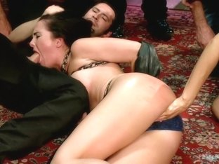 Filthy whore fucked in bondage