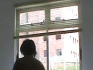 Strange guy is watching my walking naked girlfriend every day