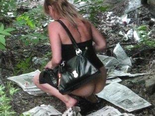 Elegant woman pissing in voyeur video