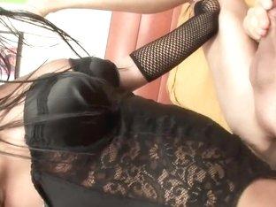 Lustful brunette shemale fucking her boyfriend