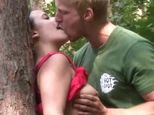Busty chick gets nailed in woods