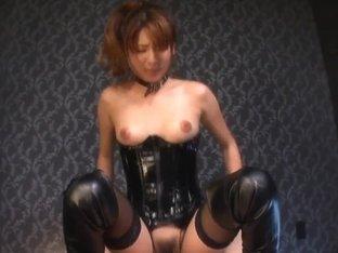 Nanami Sakura nasty Asian babe in bondage costume rides cock
