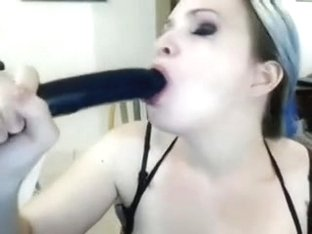 Cam girl dildos her mouth...