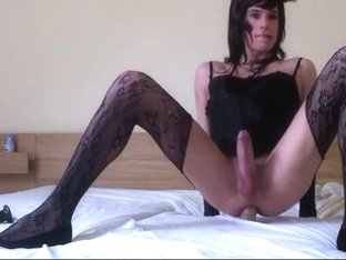 Beautiful transgender with big dildo