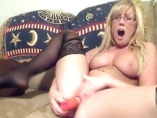 Blonde nerdy web camera model
