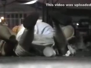 Voyeur tapes a partygirl fucking on the pavement in public