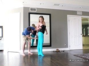 Girlfriend in blue pantyhose fucking pov