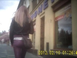 Polish blonde in spandex candid ass