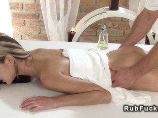 Petite brunette enoying in erotic massage