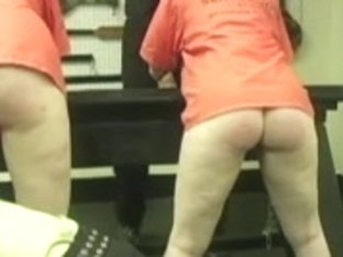 Nice babes spanked hard in the court