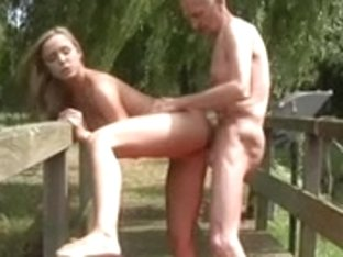 Young girl with old guy in the outdoor sex
